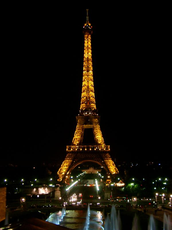 Eiffel Tower, Paris, illuminated at night